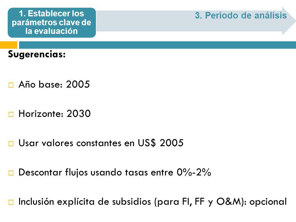 Sugerencias: Año base: 2005 Horizonte: 2030 Usar valores constantes en US$ 2005 Descontar flujos usando tasas entre 0%-2% Inclusión explícita de subsi
