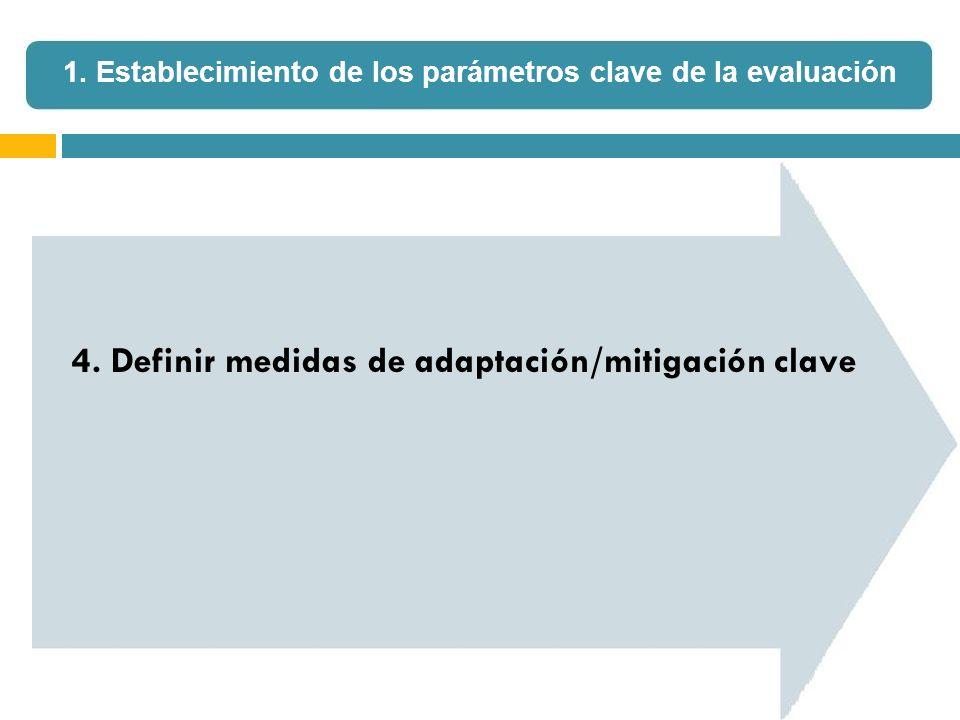 4. Definir medidas de adaptación/mitigación clave 1. Establecimiento de los parámetros clave de la evaluación