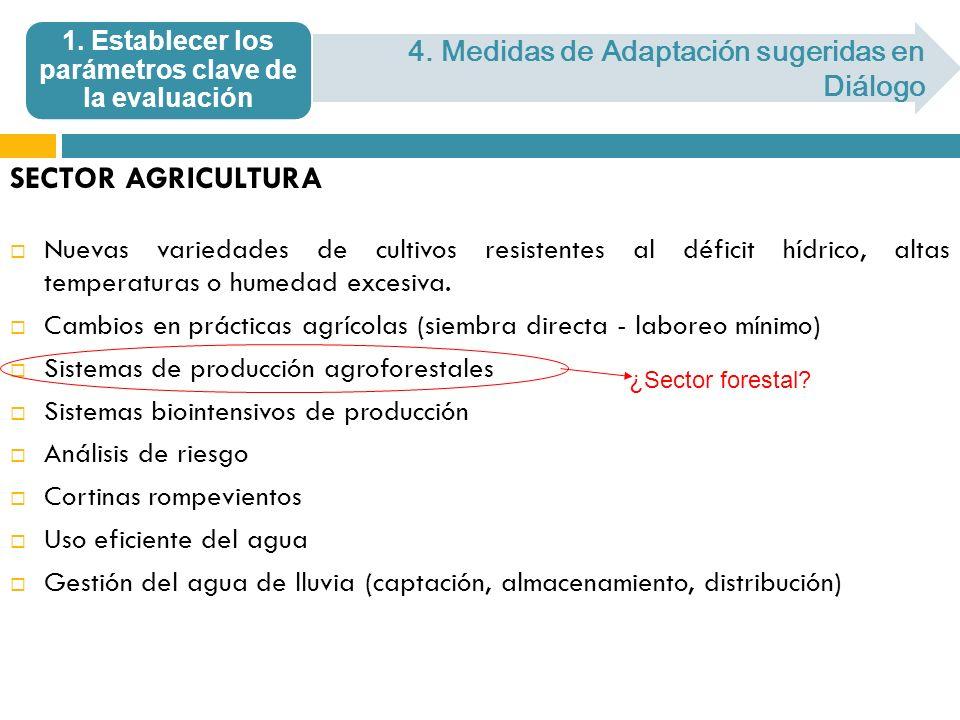 SECTOR AGRICULTURA Nuevas variedades de cultivos resistentes al déficit hídrico, altas temperaturas o humedad excesiva. Cambios en prácticas agrícolas