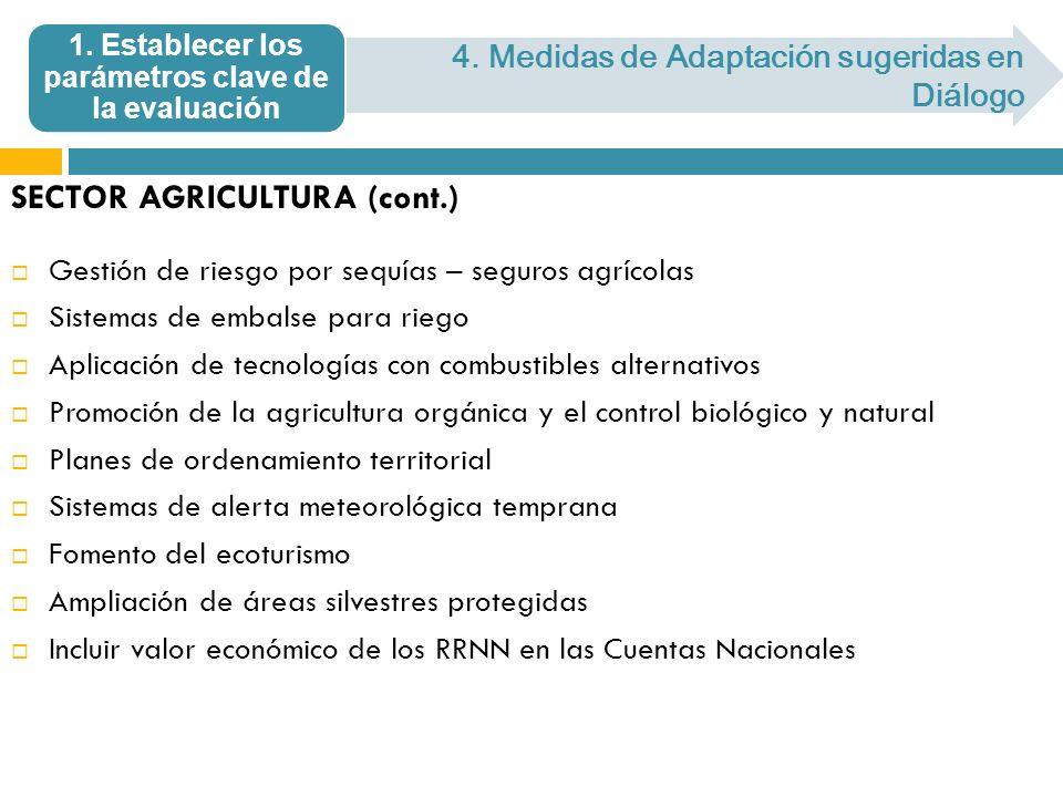 SECTOR AGRICULTURA (cont.) Gestión de riesgo por sequías – seguros agrícolas Sistemas de embalse para riego Aplicación de tecnologías con combustibles