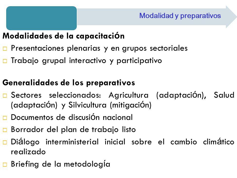 Modalidades de la capacitaci ó n Presentaciones plenarias y en grupos sectoriales Trabajo grupal interactivo y participativo Generalidades de los prep