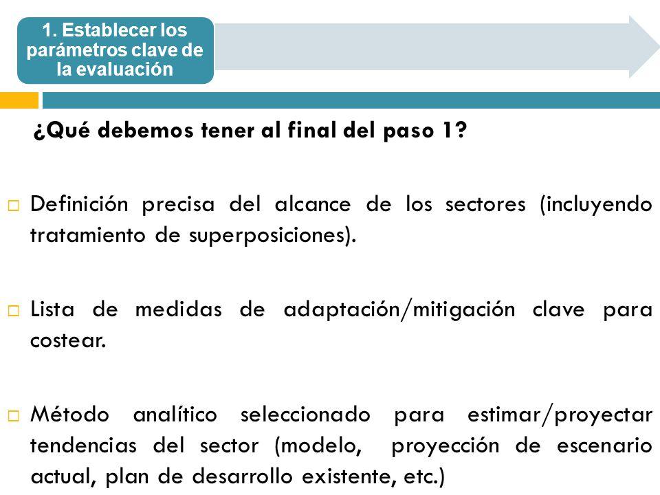 1. Establecer los parámetros clave de la evaluación ¿Qué debemos tener al final del paso 1? Definición precisa del alcance de los sectores (incluyendo