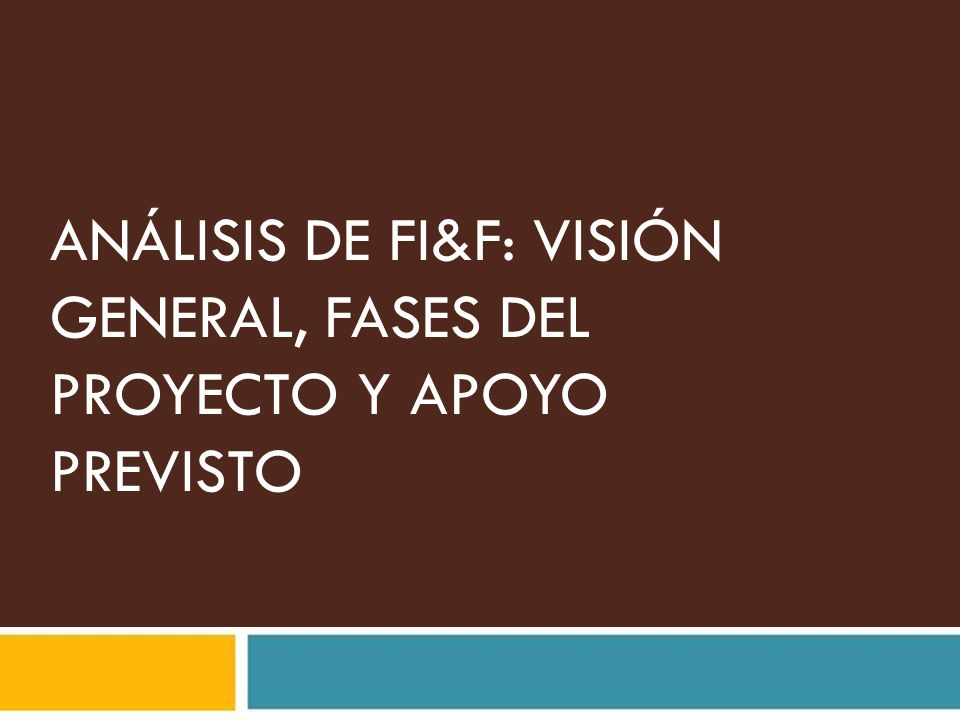 ANÁLISIS DE FI&F: VISIÓN GENERAL, FASES DEL PROYECTO Y APOYO PREVISTO