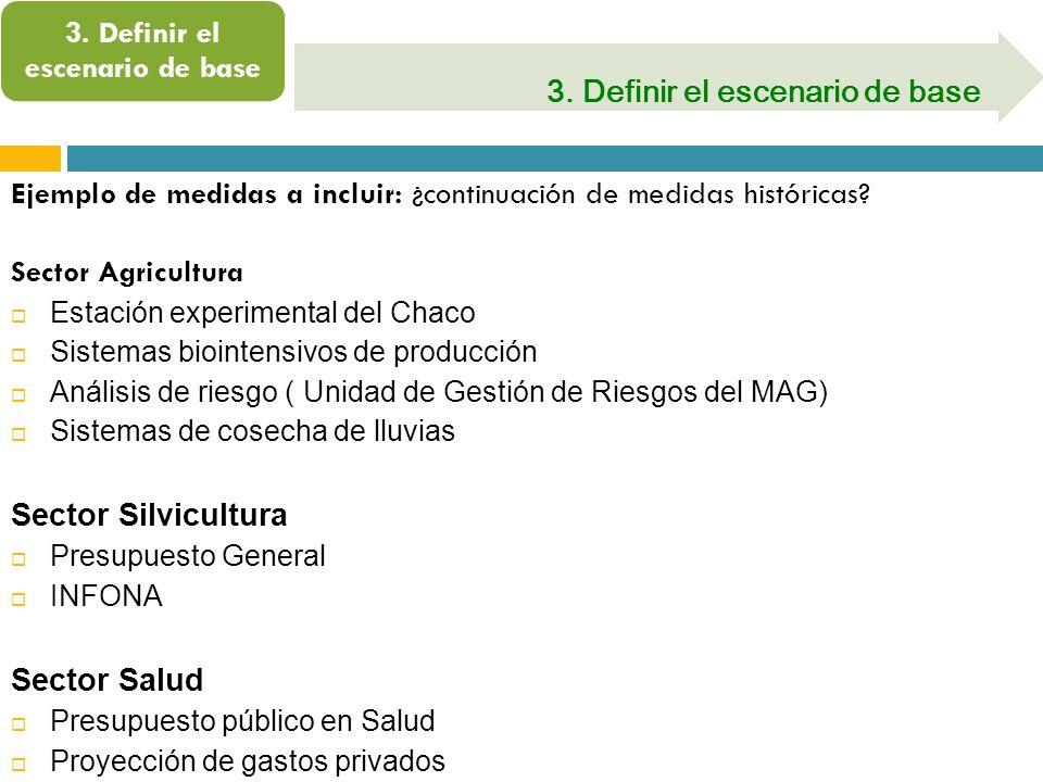 3. Definir el escenario de base Ejemplo de medidas a incluir: ¿continuación de medidas históricas? Sector Agricultura Estación experimental del Chaco