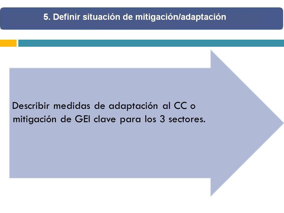 Describir medidas de adaptación al CC o mitigación de GEI clave para los 3 sectores.