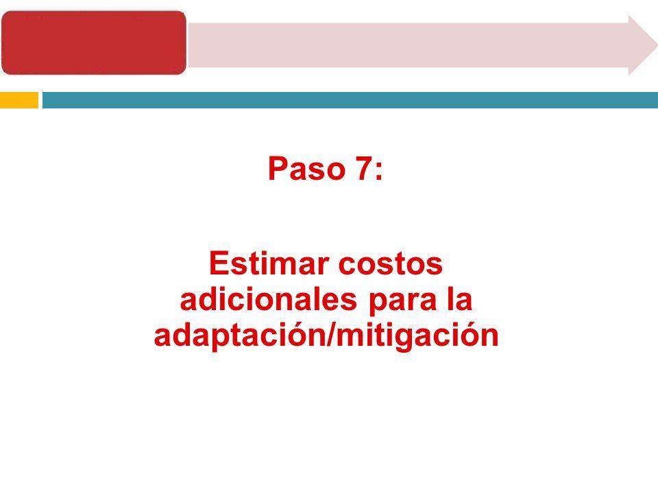 Paso 7: Estimar costos adicionales para la adaptación/mitigación