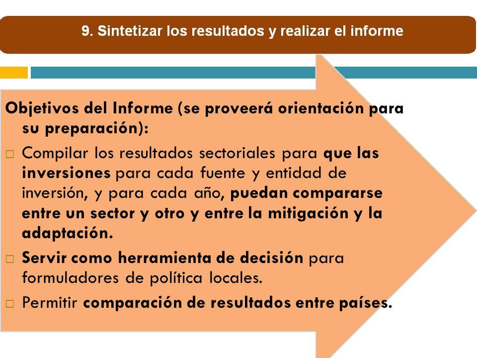 Objetivos del Informe (se proveerá orientación para su preparación): Compilar los resultados sectoriales para que las inversiones para cada fuente y e