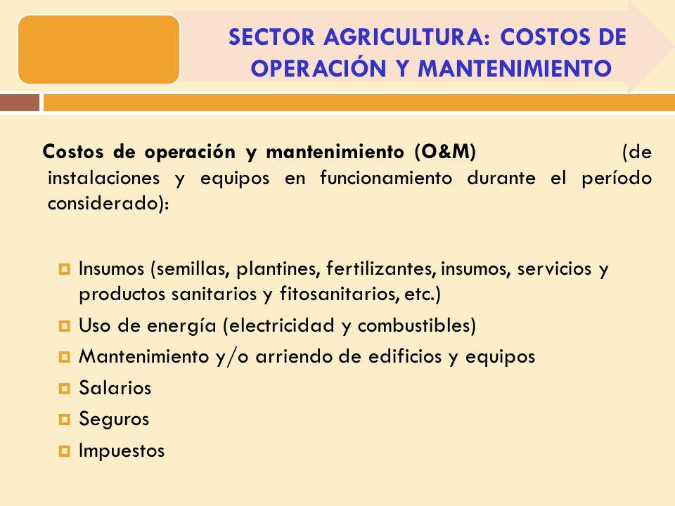 Costos de operación y mantenimiento (O&M) (de instalaciones y equipos en funcionamiento durante el período considerado): Insumos (semillas, plantines, fertilizantes, insumos, servicios y productos sanitarios y fitosanitarios, etc.) Uso de energía (electricidad y combustibles) Mantenimiento y/o arriendo de edificios y equipos Salarios Seguros Impuestos SECTOR AGRICULTURA: COSTOS DE OPERACIÓN Y MANTENIMIENTO