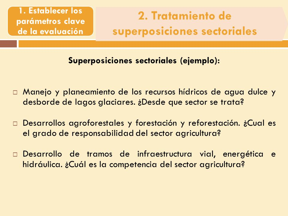 2. Tratamiento de superposiciones sectoriales 1.