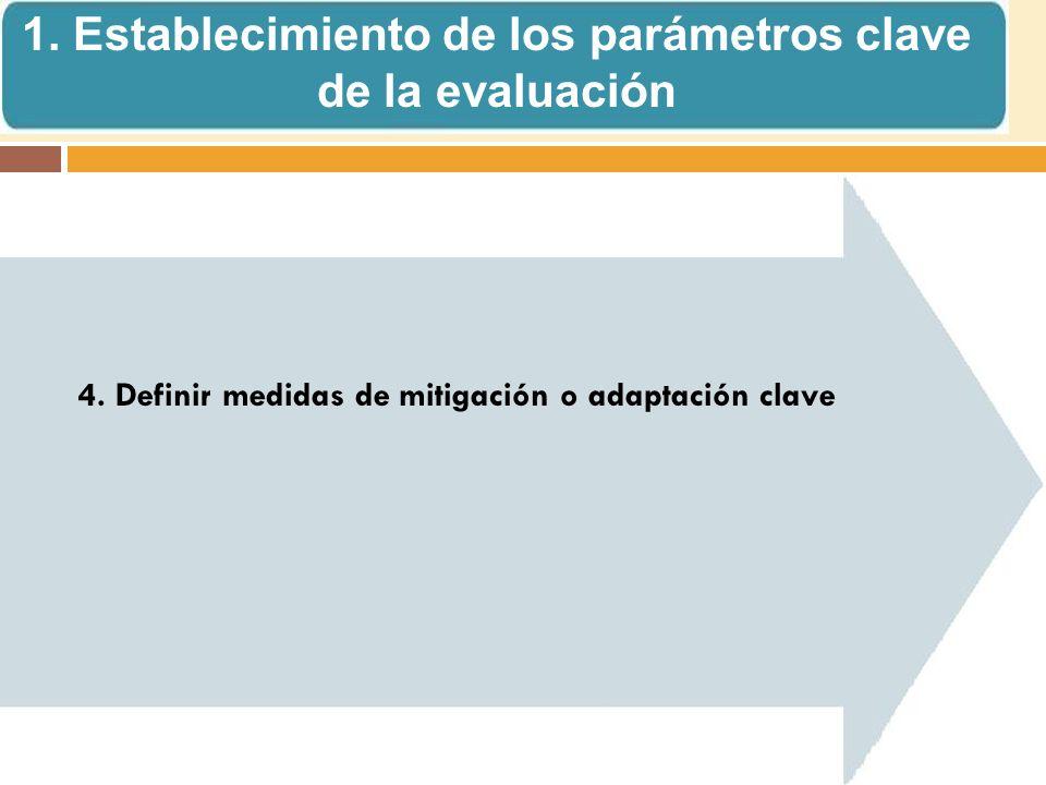 4. Definir medidas de mitigación o adaptación clave 1.
