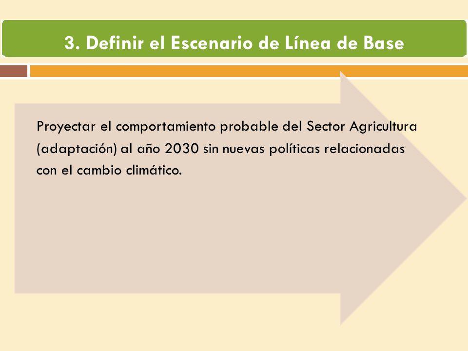 Proyectar el comportamiento probable del Sector Agricultura (adaptación) al año 2030 sin nuevas políticas relacionadas con el cambio climático.