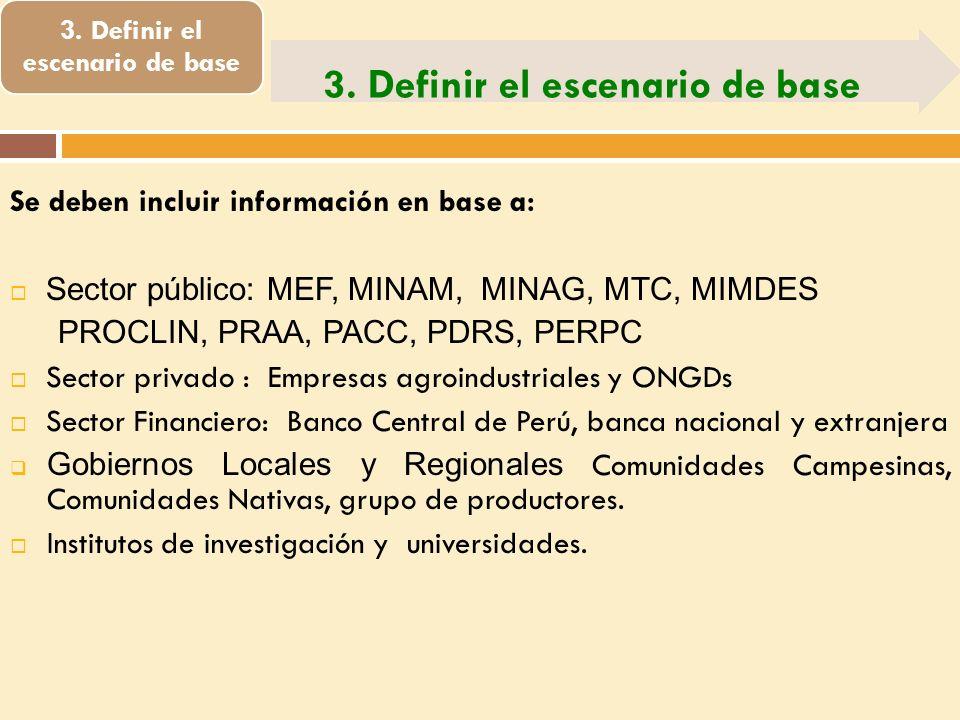 3. Definir el escenario de base Se deben incluir información en base a: Sector público: MEF, MINAM, MINAG, MTC, MIMDES PROCLIN, PRAA, PACC, PDRS, PERP