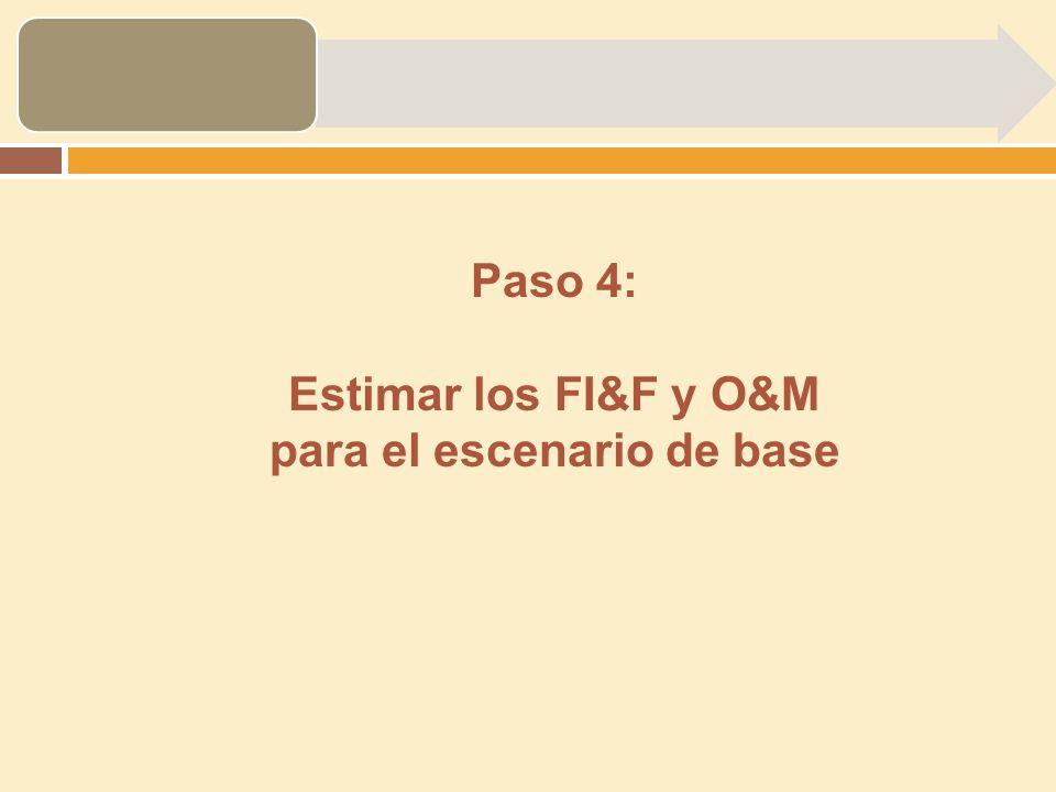 Paso 4: Estimar los FI&F y O&M para el escenario de base