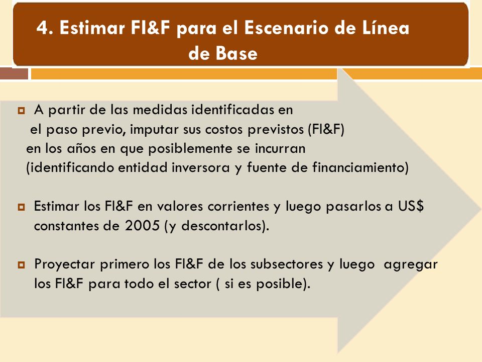 A partir de las medidas identificadas en el paso previo, imputar sus costos previstos (FI&F) en los años en que posiblemente se incurran (identificando entidad inversora y fuente de financiamiento) Estimar los FI&F en valores corrientes y luego pasarlos a US$ constantes de 2005 (y descontarlos).