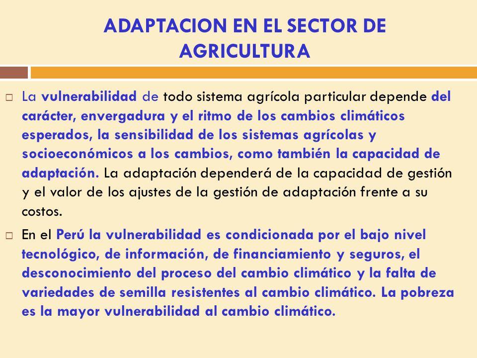 ADAPTACION EN EL SECTOR DE AGRICULTURA La vulnerabilidad de todo sistema agrícola particular depende del carácter, envergadura y el ritmo de los cambios climáticos esperados, la sensibilidad de los sistemas agrícolas y socioeconómicos a los cambios, como también la capacidad de adaptación.