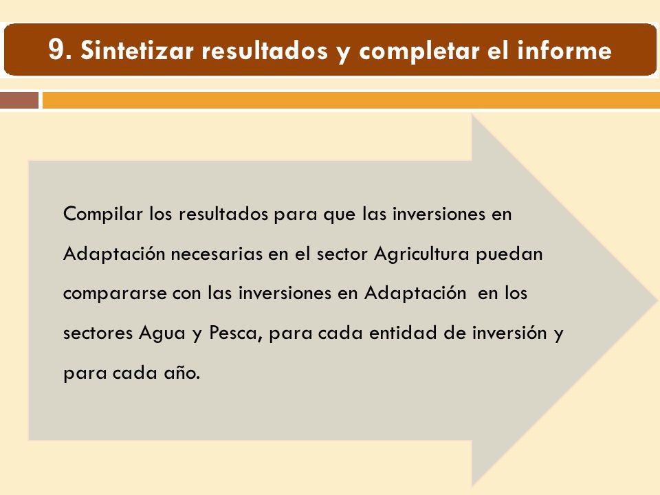 Compilar los resultados para que las inversiones en Adaptación necesarias en el sector Agricultura puedan compararse con las inversiones en Adaptación en los sectores Agua y Pesca, para cada entidad de inversión y para cada año.