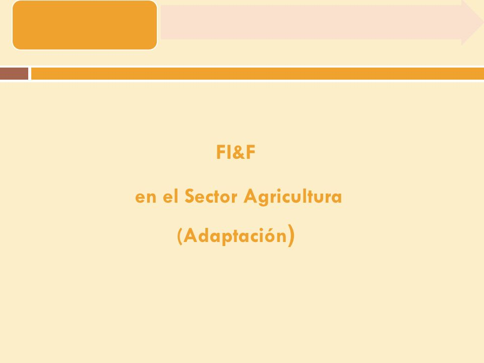 FI&F en el Sector Agricultura (Adaptación )