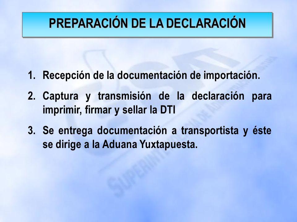 1.OPERACIÓN DE RECEPCION EN ADUANA LA HACHADURA.