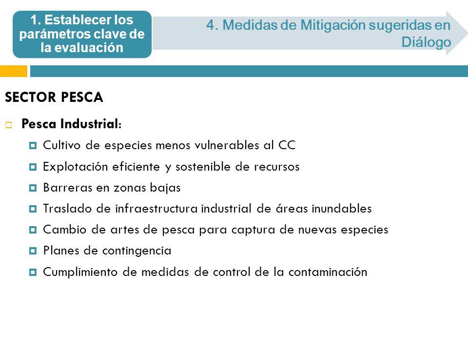 SECTOR PESCA Pesca Industrial: Cultivo de especies menos vulnerables al CC Explotación eficiente y sostenible de recursos Barreras en zonas bajas Tras
