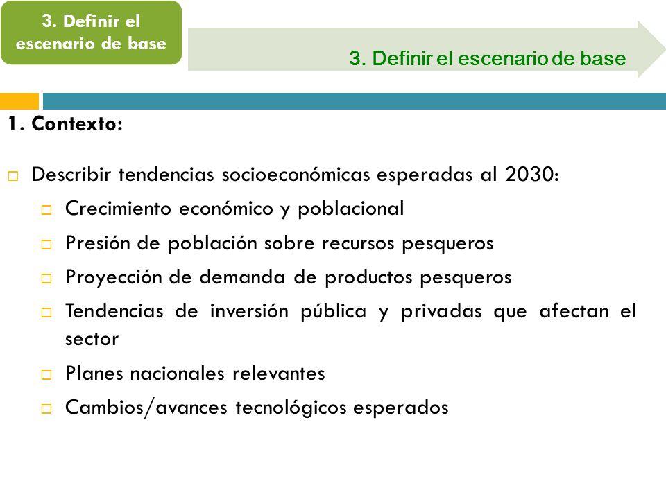 3. Definir el escenario de base 1. Contexto: Describir tendencias socioeconómicas esperadas al 2030: Crecimiento económico y poblacional Presión de po