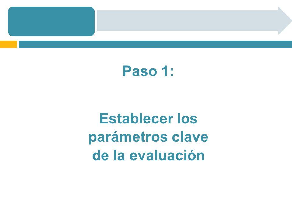 Paso 1: Establecer los parámetros clave de la evaluación