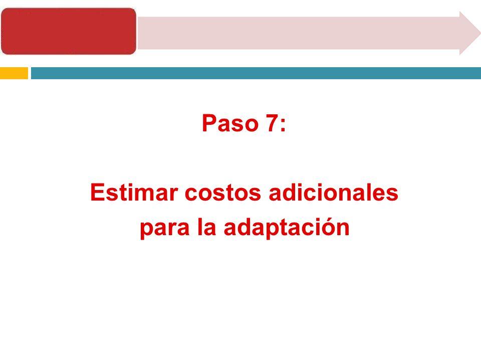 Paso 7: Estimar costos adicionales para la adaptación