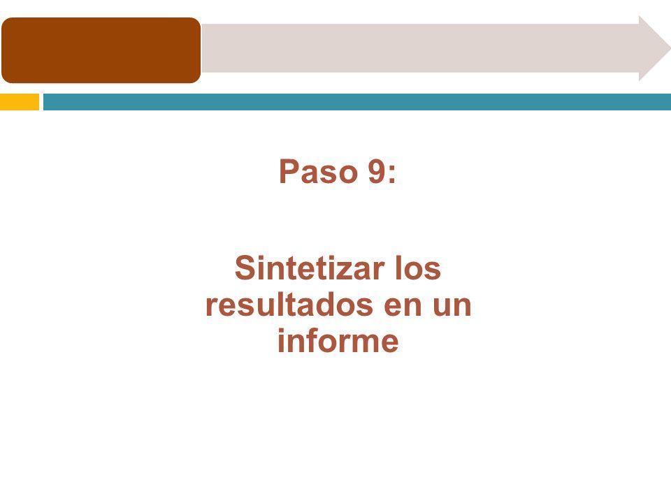 Paso 9: Sintetizar los resultados en un informe