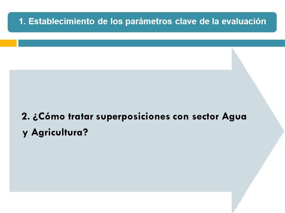 2. ¿Cómo tratar superposiciones con sector Agua y Agricultura? 1. Establecimiento de los parámetros clave de la evaluación