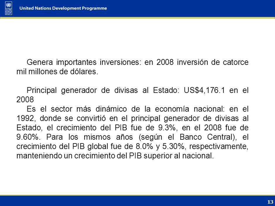 12 Descripción/Caracterización del sector Turismo Mayor generador de empleos: en el 2008 generó 195,519 plazas de trabajo, equivalentes a un crecimien