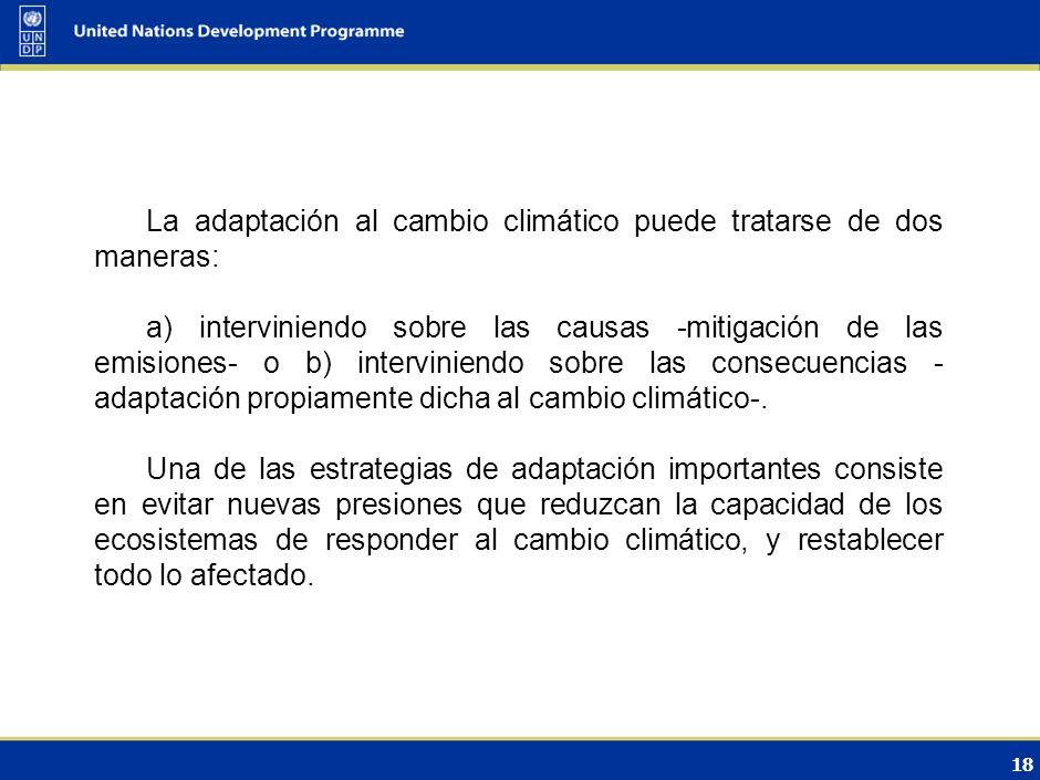 17 Medidas de adaptación/mitigación propuestas para el sector LOGO DE L GOBIERNO/OFICI NA DE CAMBIO CLIMÁTICO O BANDERA DEL PAÍS La adaptación en el c