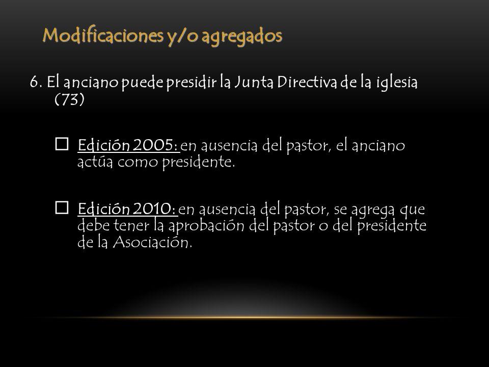Modificaciones y/o agregados 6. El anciano puede presidir la Junta Directiva de la iglesia (73) Edición 2005: en ausencia del pastor, el anciano actúa