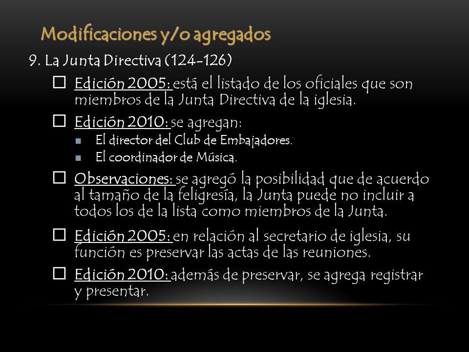 Modificaciones y/o agregados 9. La Junta Directiva (124-126) Edición 2005: está el listado de los oficiales que son miembros de la Junta Directiva de