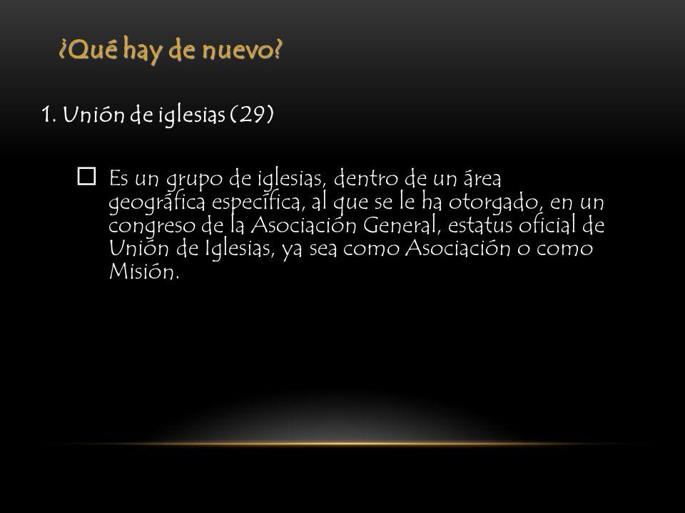 ¿Qué hay de nuevo? 1. Unión de iglesias (29) Es un grupo de iglesias, dentro de un área geográfica específica, al que se le ha otorgado, en un congres