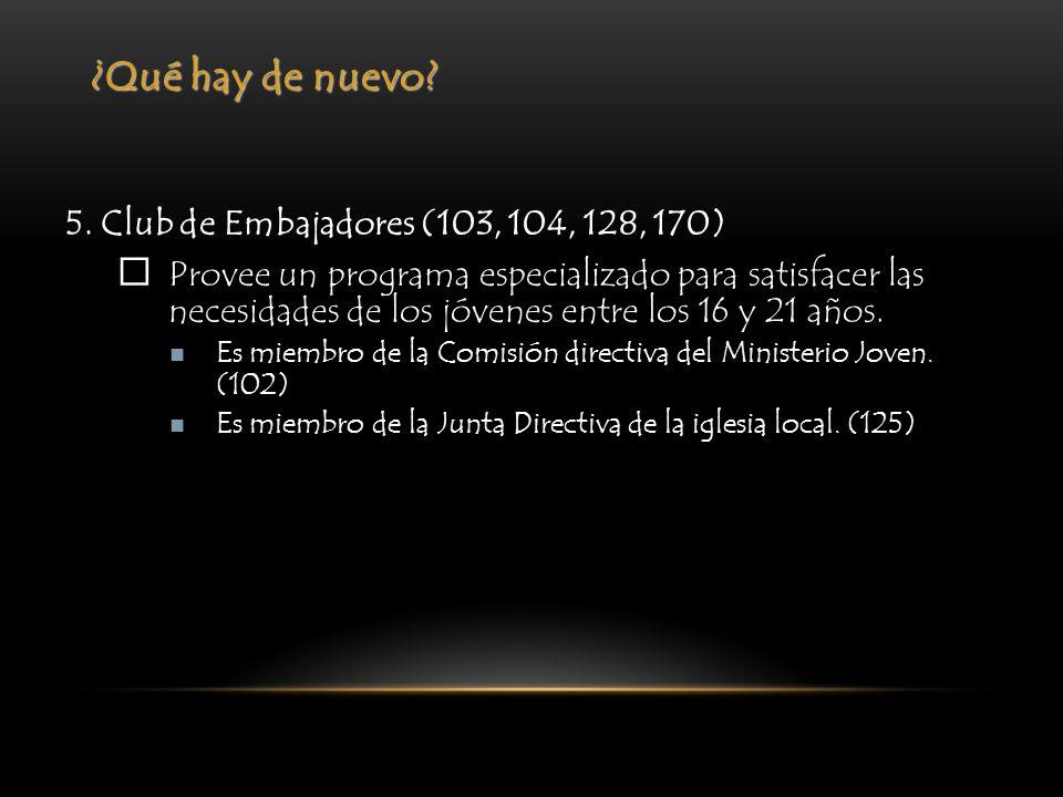 ¿Qué hay de nuevo? 5. Club de Embajadores (103, 104, 128, 170) Provee un programa especializado para satisfacer las necesidades de los jóvenes entre l