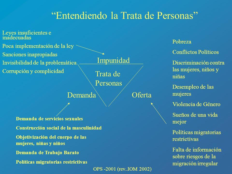 Impunidad Oferta Demanda Leyes insuficientes e inadecuadas Poca implementación de la ley Sanciones inapropiadas Invisibilidad de la problemática Corru