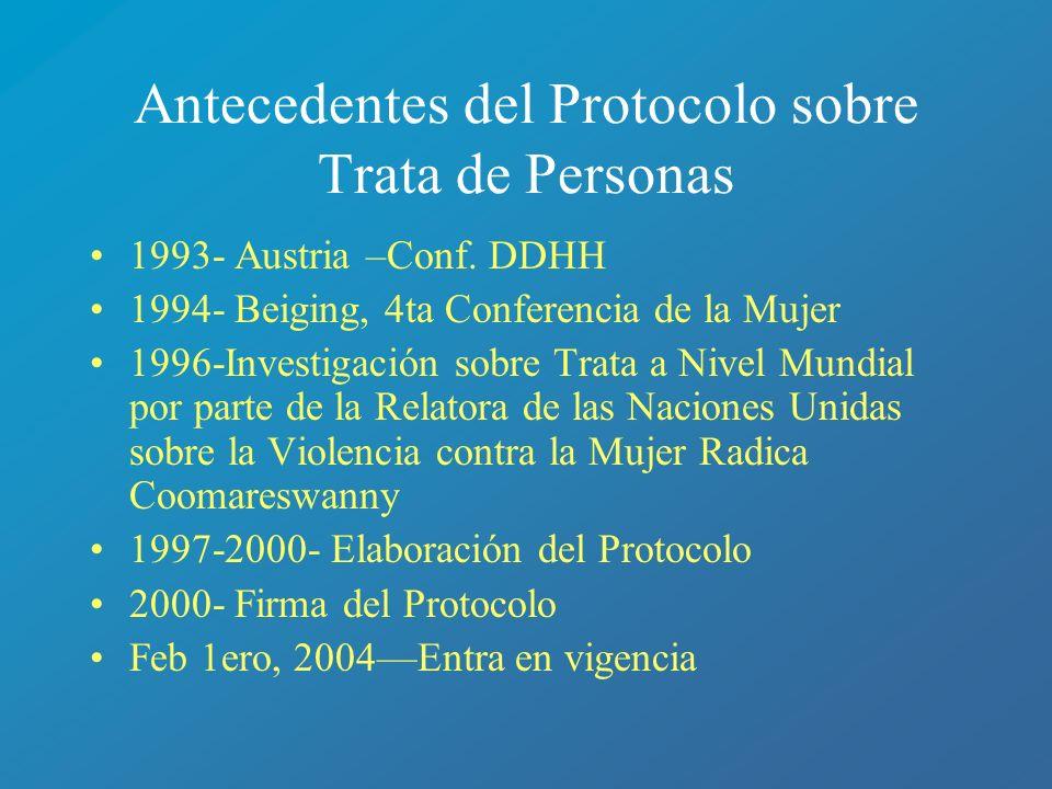 Antecedentes del Protocolo sobre Trata de Personas 1993- Austria –Conf. DDHH 1994- Beiging, 4ta Conferencia de la Mujer 1996-Investigación sobre Trata