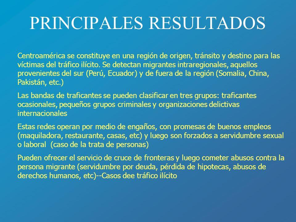 PRINCIPALES RESULTADOS Centroamérica se constituye en una región de origen, tránsito y destino para las víctimas del tráfico ilícito. Se detectan migr