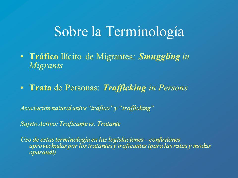Sobre la Terminología Tráfico Ilícito de Migrantes: Smuggling in Migrants Trata de Personas: Trafficking in Persons Asociación natural entre tráfico y