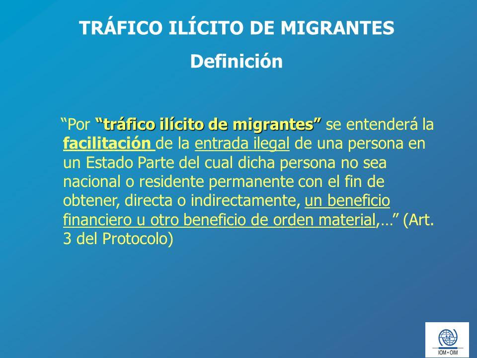 tráfico ilícito de migrantes Por tráfico ilícito de migrantes se entenderá la facilitación de la entrada ilegal de una persona en un Estado Parte del