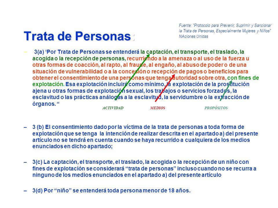 – 3(a) Por Trata de Personas se entenderá la captación, el transporte, el traslado, la acogida o la recepción de personas, recurriendo a la amenaza o