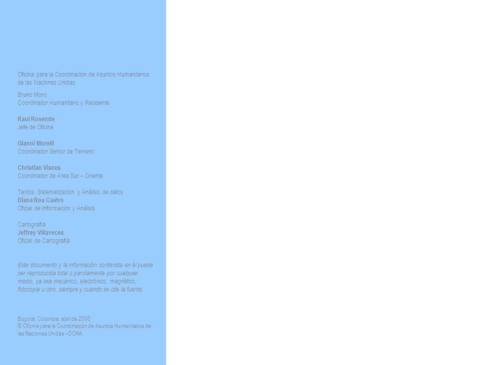 Oficina para la Coordinación de Asuntos Humanitarios de las Naciones Unidas Bruno Moro Coordinador Humanitario y Residente Raul Rosende Jefe de Oficina Gianni Morelli Coordinador Senior de Terreno Christian Visnes Coordinador de Area Sur – Oriente Textos, Sistematización y Análisis de datos Diana Roa Castro Oficial de Información y Análisis Cartografía Jeffrey Villaveces Oficial de Cartografía Este documento y la información contenida en él puede ser reproducida total o parcilamente por cualquier medio, ya sea mecánico, electrónico, magnético, fotocopia u otro, siempre y cuando se cite la fuente.