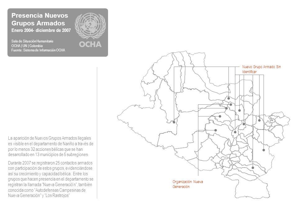 Análisis Subregional Homicidios Enero 2004 - diciembre de 2007 Sala de Situación Humanitaria OCHA | UN | Colombia Fuente: Observatorio de Derechos Humanos y DIH, Vicepresidencia de la República Subregión Norte De acuerdo con la fuente, los 15 homicidios que se registraron en la subregión Norte han sido perpetrados por desconocidos, en 5 de los 16 municipios que conforman la subregión.