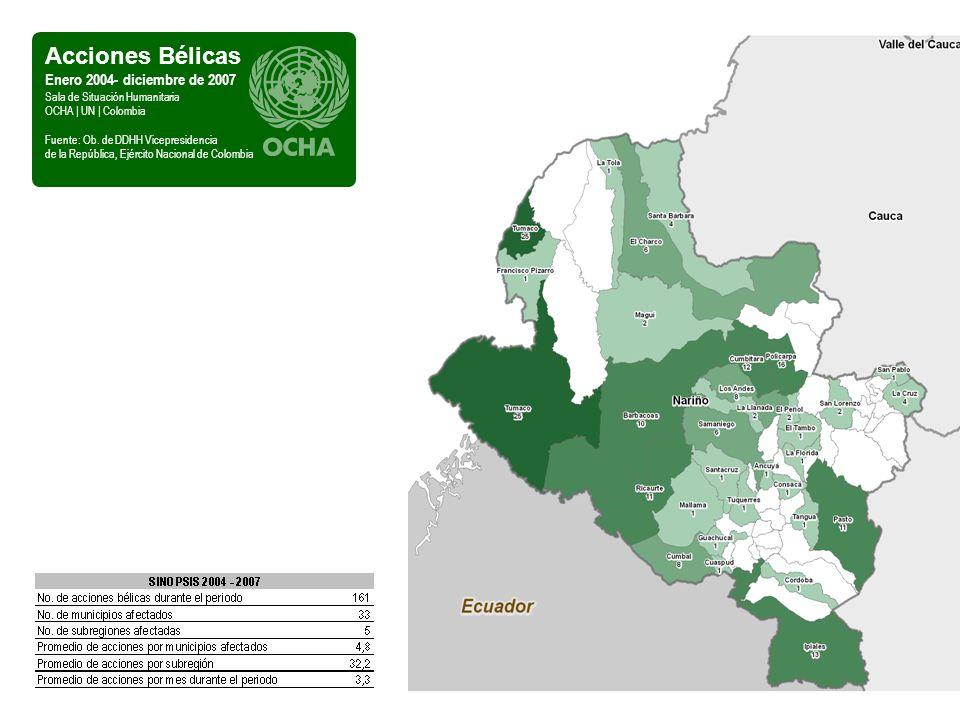 Comunidades en Riesgo Enero - diciembre de 2007 Sala de Situación Humanitaria OCHA | UN | Colombia Fuente: Sistema de Alertas Tempranas, Defensoría del Pueblo De otra parte, los alcaldes que ejercieron funciones hasta el 31 de diciembre de 2007 en los municipios de Los Andes y Samaniego estuvieron en riesgo inmimente.
