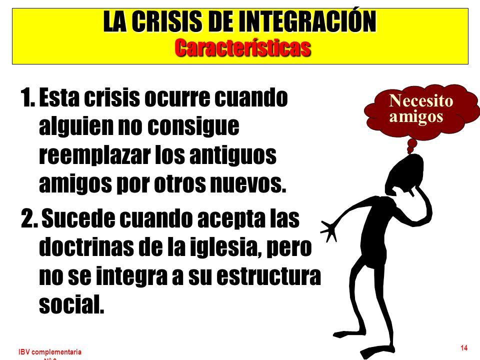 IBV complementaria Nº 2 14 LA CRISIS DE INTEGRACIÓN Características 1. Esta crisis ocurre cuando alguien no consigue reemplazar los antiguos amigos po