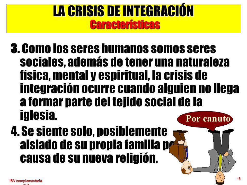 IBV complementaria Nº 2 15 LA CRISIS DE INTEGRACIÓN Características 3. Como los seres humanos somos seres sociales, además de tener una naturaleza fís