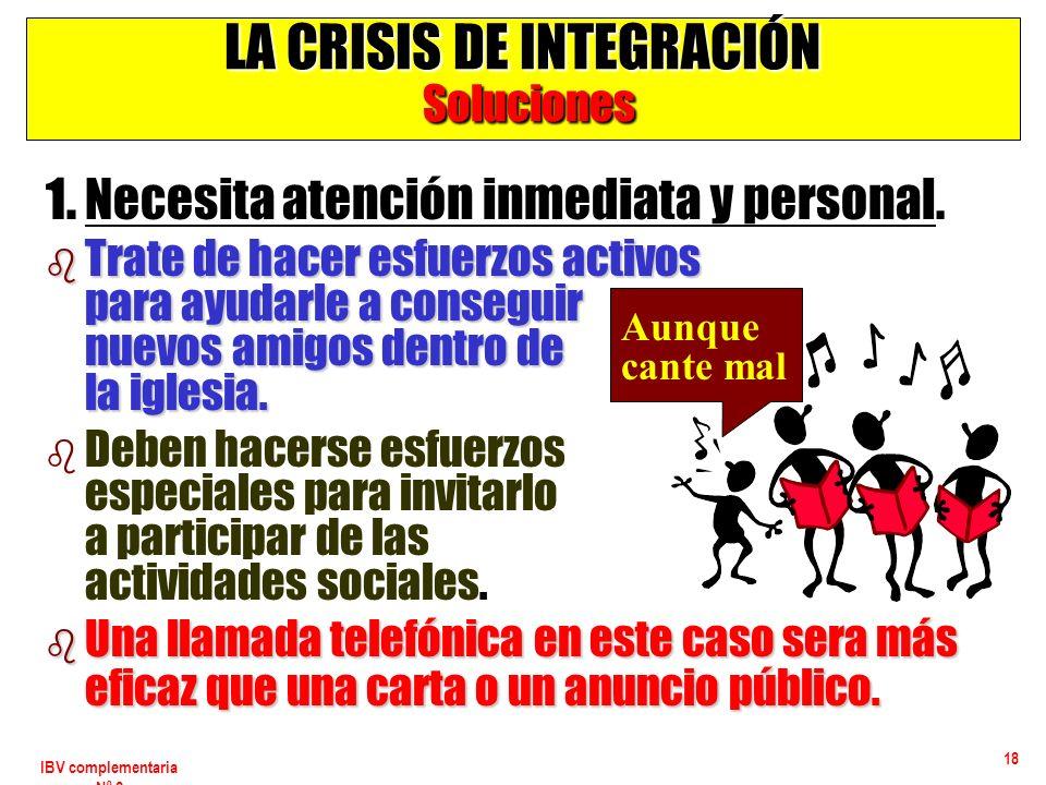 IBV complementaria Nº 2 18 LA CRISIS DE INTEGRACIÓN Soluciones 1. Necesita atención inmediata y personal. b Trate de hacer esfuerzos activos para ayud