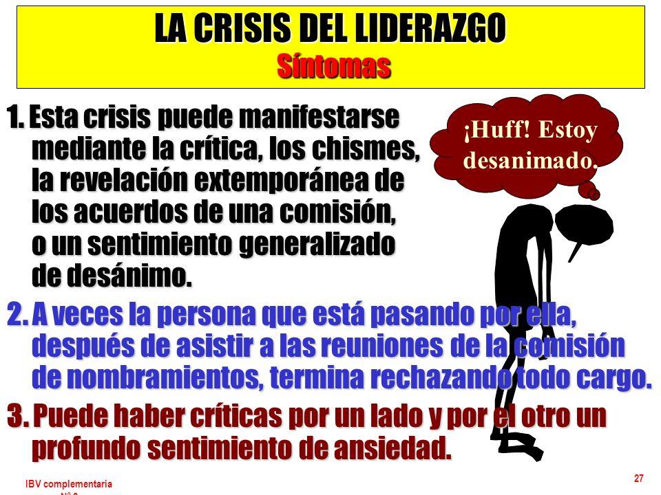 IBV complementaria Nº 2 27 LA CRISIS DEL LIDERAZGO Síntomas 1. Esta crisis puede manifestarse mediante la crítica, los chismes, la revelación extempor
