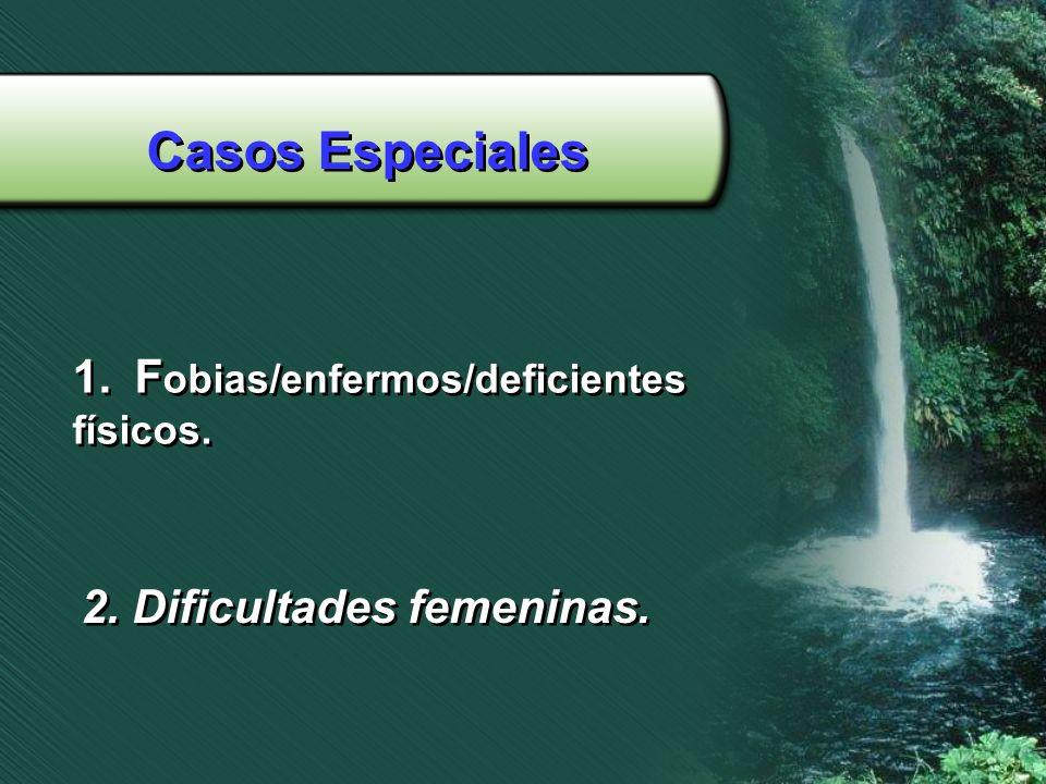 Casos Especiales 1.F obias/enfermos/deficientes físicos. 1.F obias/enfermos/deficientes físicos. 2. Dificultades femeninas.