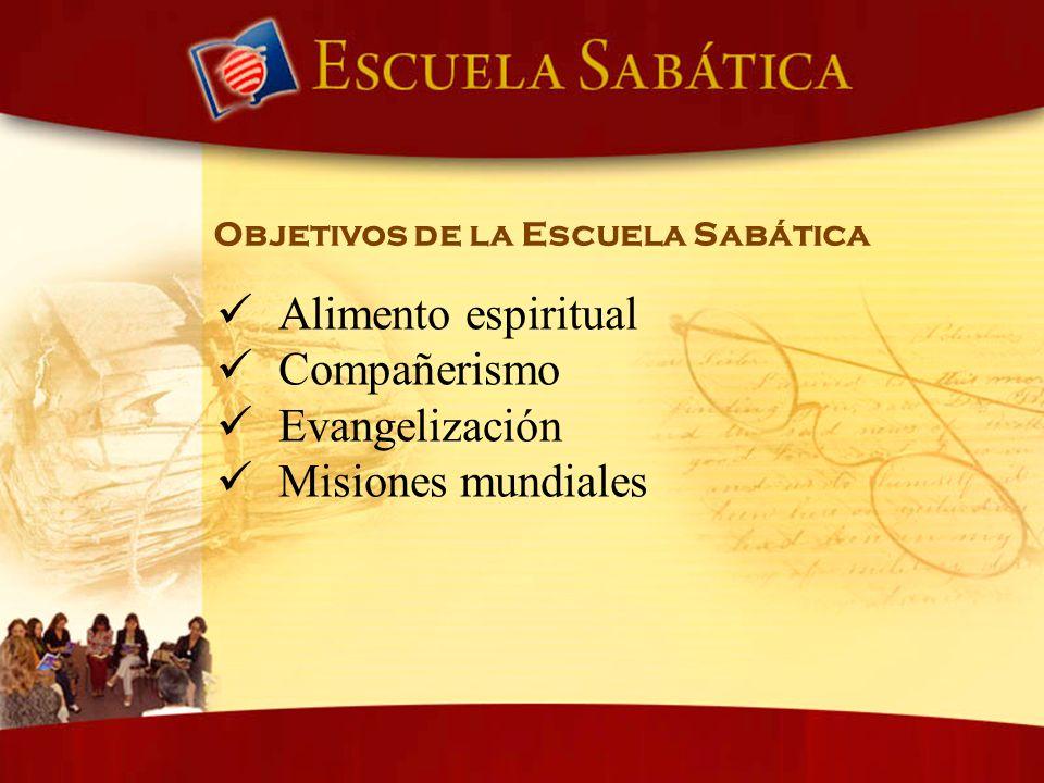 Objetivos de la Escuela Sabática Alimento espiritual Compañerismo Evangelización Misiones mundiales