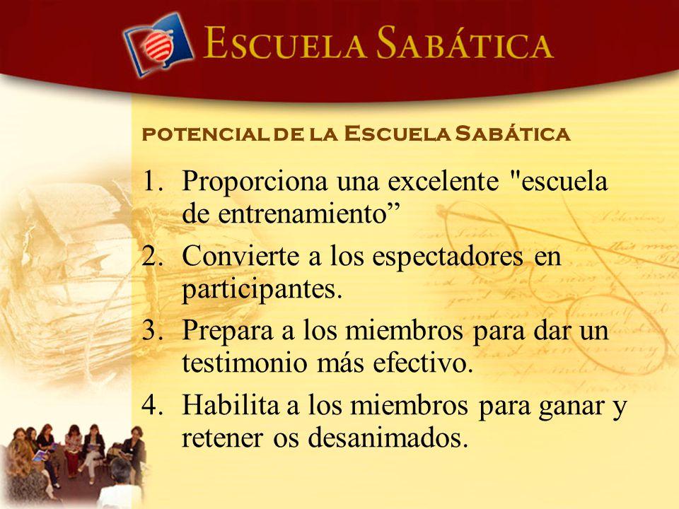 potencial de la Escuela Sabática 1. Proporciona una excelente